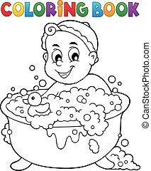 färbung, bild, 3, thema, buch, baby