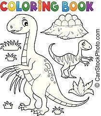 färbung, bild, dinosaurierer, 3, buch, subjekt