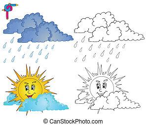 Regnerisch, färbung, 1, thema, buch, wetter. Regnerisch, färbung ...