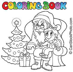 färbung, claus, thema, buch, santa, 6