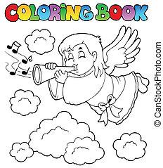 färbung, engelchen, bild, 3, thema, buch