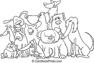 färbung, gruppe, hunden