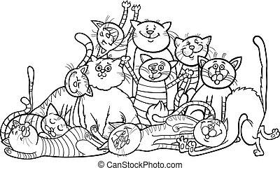 färbung, gruppe, karikatur, katzen, buch, glücklich