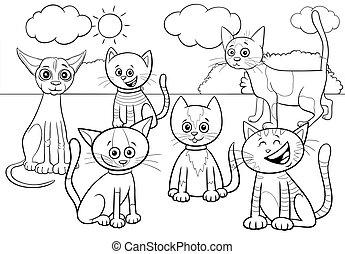 färbung, gruppe, katzen, buchseite, karikatur