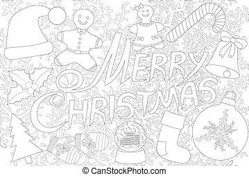 färbung, hintergrund, freigestellt, buch, fröhlich, weißes weihnachten