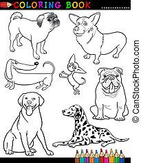 färbung, hunden, buch, karikatur, oder, seite