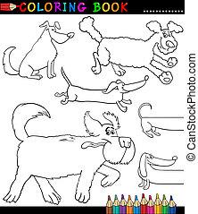färbung, hunden, hundebabys, karikatur, oder, seite