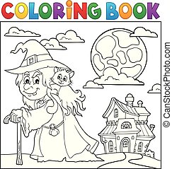 färbung, katz, topic, 2, hexe, buch