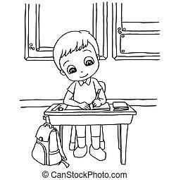 färbung, kinder, klasse, vektor, karikatur, hausaufgabe, ...