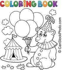 färbung, luftballone, buch, bär