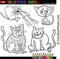 färbung, oder, buch, katzen, karikatur, seite