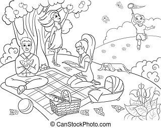 färbung, picknick, natur, abbildung, kinder, buch, vektor, karikatur