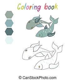 färbung, plan, kinder, fische, spiel, buch