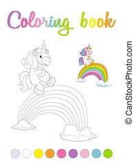 färbung, reizend, lächeln, buch, bridge., seite, karikatur, einhorn, regenbogen