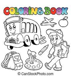 färbung, schule, 2, buch, karikaturen