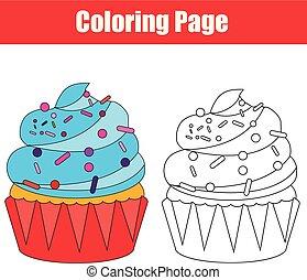 färbung, seite, cupcake