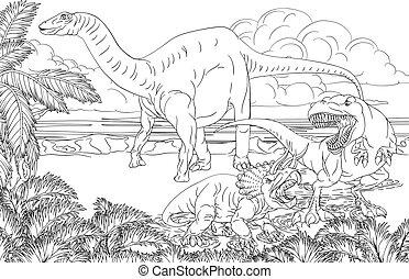 färbung, seite, dinosaurierer, karikatur, buch, szene