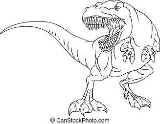 färbung, seite, dinosaurierer, t, karikatur, buch, ...