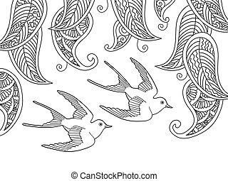 färbung, seite, mit, zwei vögel, und, weide, blättert
