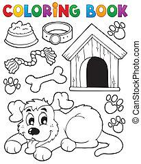 färbung, thema, 2, buch, hund