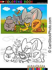 färbung, tiere, buch, afrikanisch, wild, karikatur