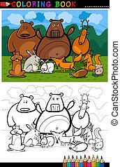 färbung, tiere, buch, wald, wild, karikatur