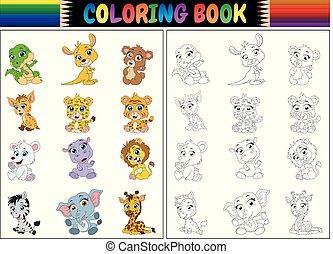 färbung, tiere, sammlung, buch, wild, karikatur