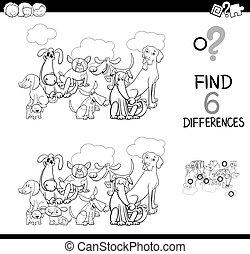 färbung, tiere, unterschiede, spiel, buch, hunden