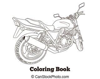 färbung, vektor, buch, abbildung, motorrad