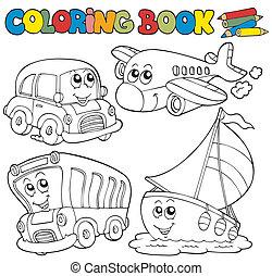 färbung, verschieden, buch, fahrzeuge