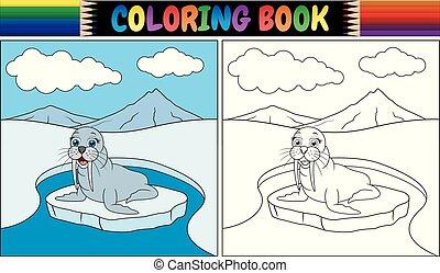 färbung, walross, buch, karikatur