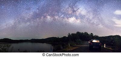 färd, till, galax, kant, panorama, vintergatan