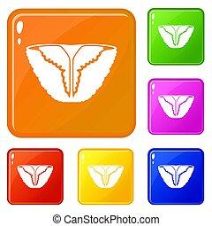 färg, årgång, bikini, sätta, ikonen