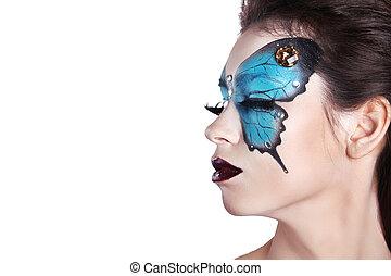 färg, ansikte, konst, portrait., mode, göra, uppe., fjäril, smink, på, ansikte, vacker, woman., isolerat, vita, bakgrund.