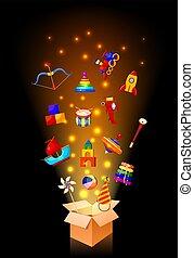 färg avbild, grupp, av, ikonen, av, barns leksaker, i boxas, ., sätta, av, isolerat, objects., vektor, illustration