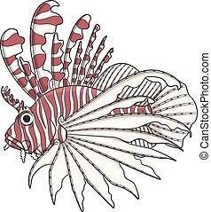 färg avbild, lionfish.