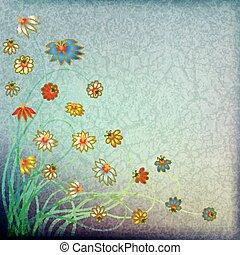 färg, blommig, abstrakt, grunge, bakgrund