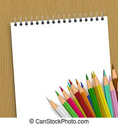 färg, blyertspenna, anteckningsbok, tom