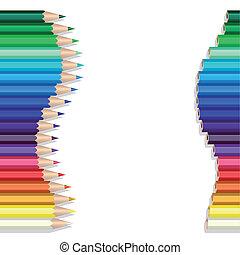 färg, blyertspenna, våg
