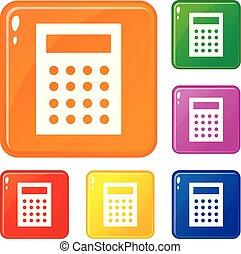 färg, bokföring, vektor, sätta, ikonen