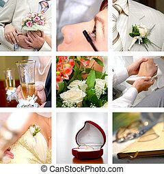 färg, bröllop, foto, sätta