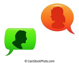 färg, bubbla, anförande, meddelat, folk