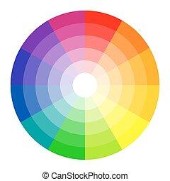 färg, cirkel, 12, färger