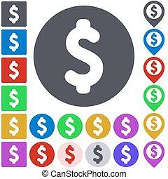 färg, dollar, ikon, sätta