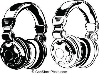 färg, drawings., headphones., en