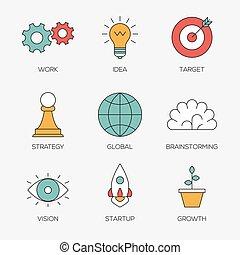 färg, fodra, skapande, affärsverksamhet ikon