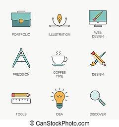 färg, fodra, skapande, design, ikonen