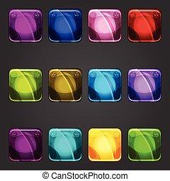 färg, glänsande, knapp, set fyrkantiga