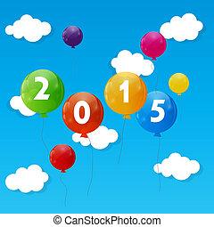 färg, glatt, 2015, färsk, bakgrund, illustrati, vektor, år, ...