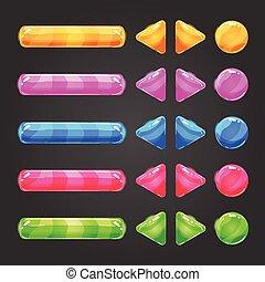 färg, gräns flat, knapp, sätta, lek